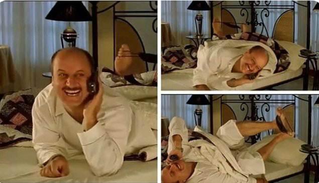 anupam kher talking on phone