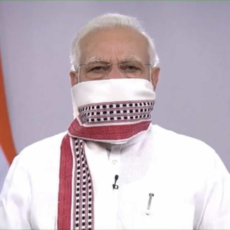 Modiji wearing his towel mask