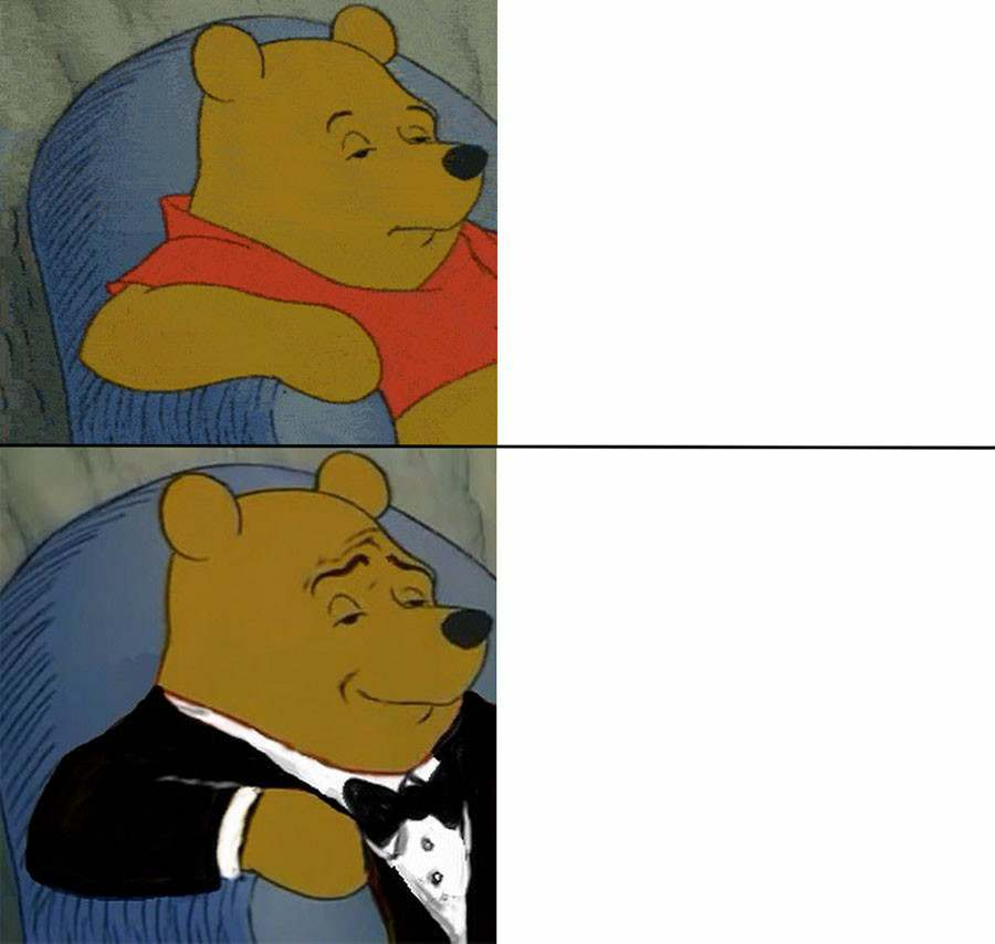 Tuxedo Pooh meme template