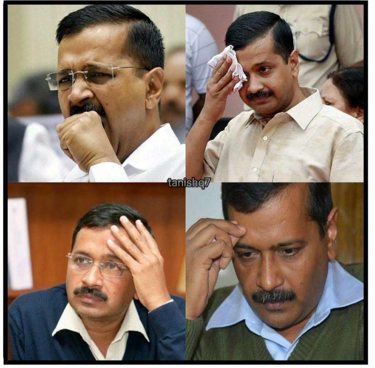 arvind kejriwal in tension meme template politics