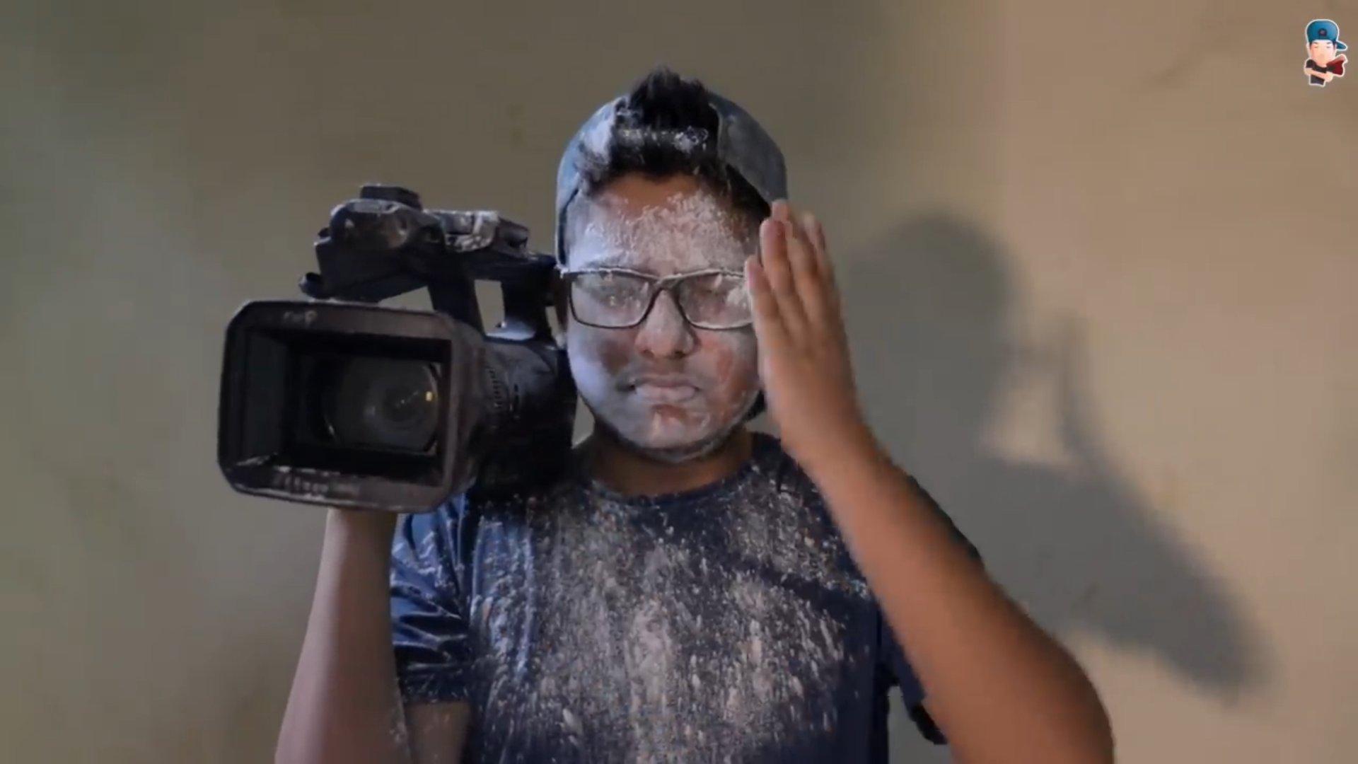 powder on camera man face harsh beniwal meme template