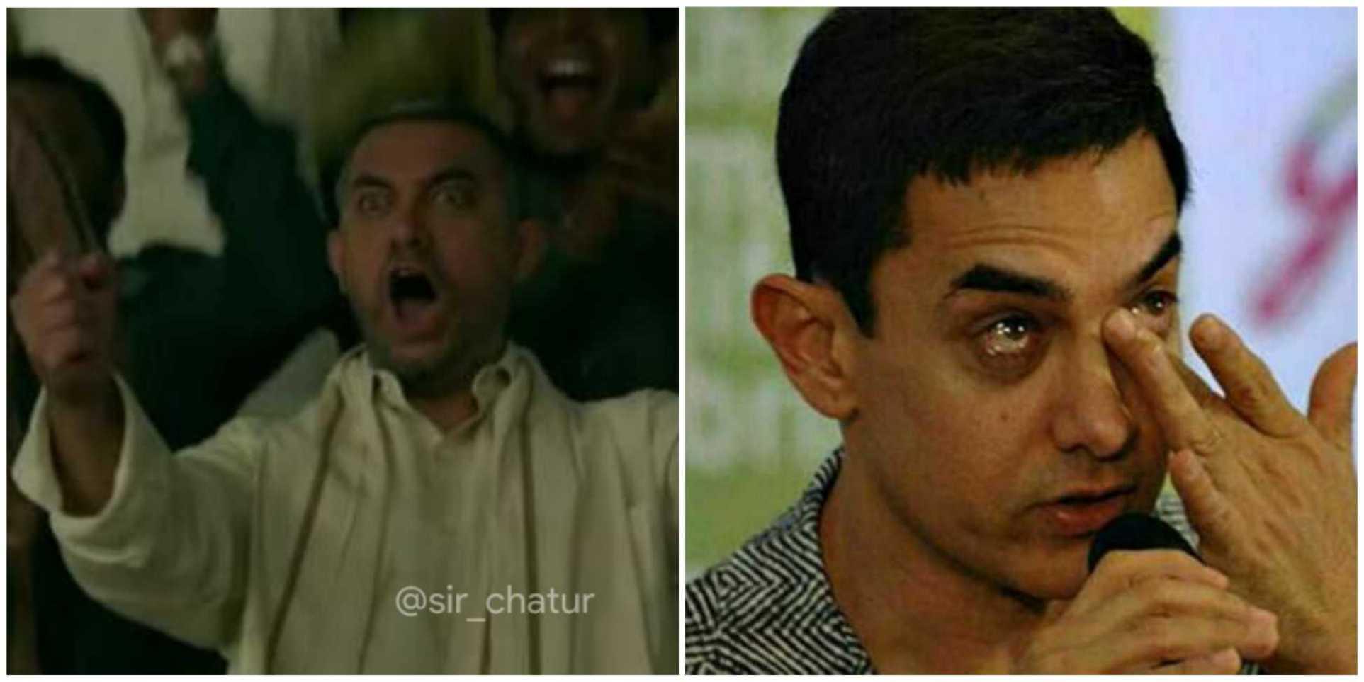 Aamir khan screaming vs crying meme template
