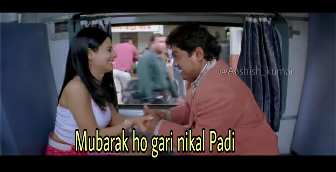 mubarak ho gadi nikal padi johny lever meme template