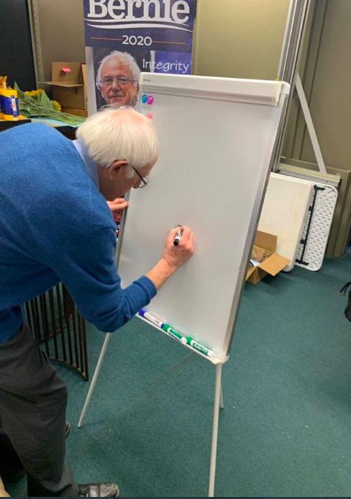 Bernie Sanders Writing on a Whiteboard