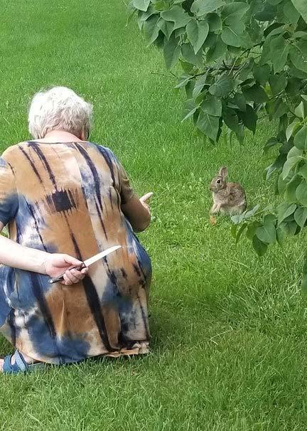 Grandma Hiding Knife From Rabbit