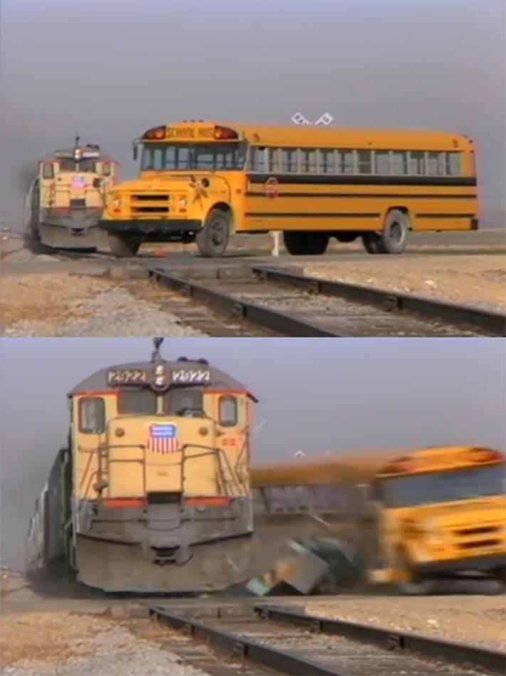 School Bus Getting Hit By a Train