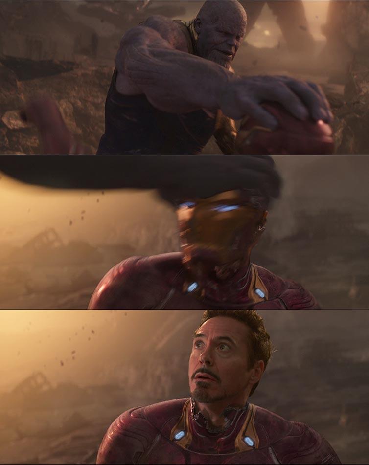 Thanos Breaking Iron Mans Helmet