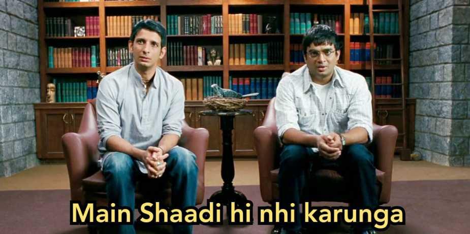 main shadi hi nahi karunga 3 idiots meme template