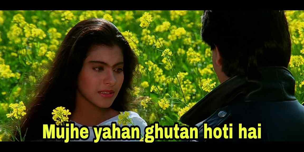 mujhe yahan ghutan hotu hai ddlj meme template