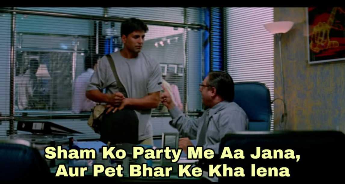 sham ko party mein aa jana garam masala meme template