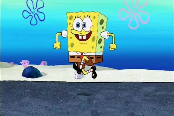 spongebob happy walking meme template