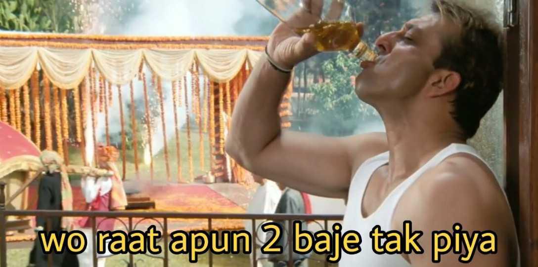 wo raat apun do baje tak piya munna bhai meme template
