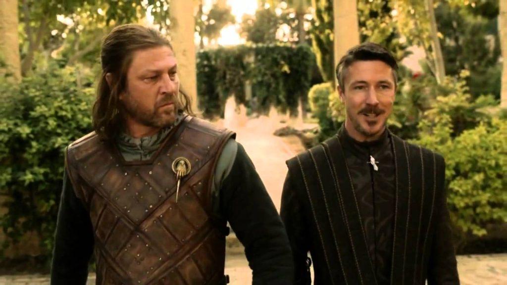 ned stark and littlefinger walking blank meme template game of thrones