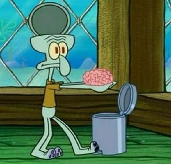 squidward dropping his brain in dustbin