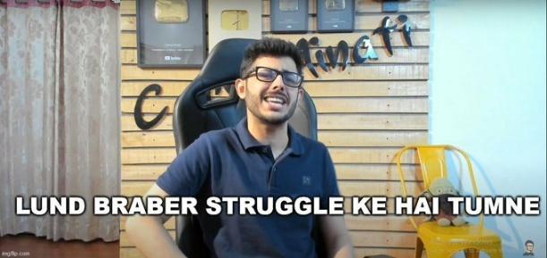 lund barabar struggle ki hai carryminati meme template
