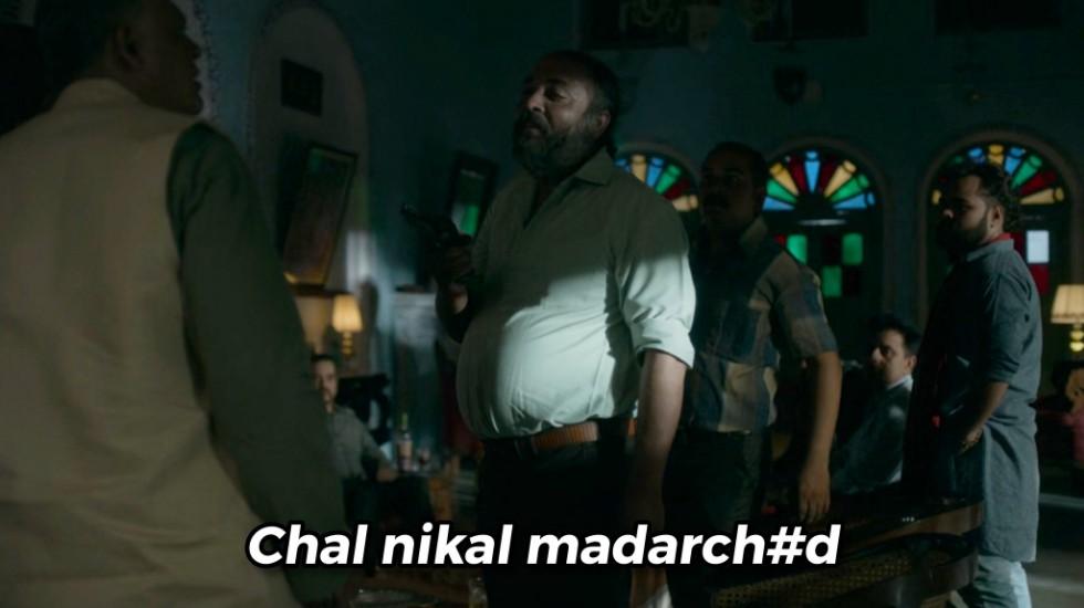 chal nikla madarchod Mirzapur 2 meme template