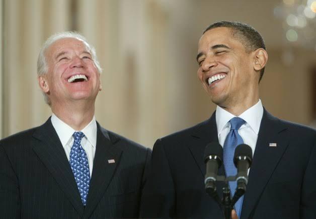 Joe Biden and Barack Obama laughing meme template