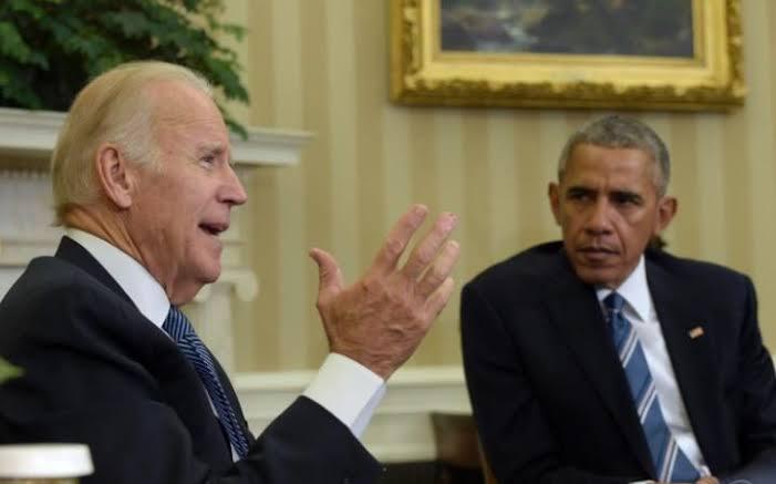 Joe Biden talking to Barack Obama meme template