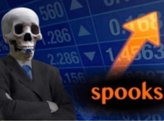 spooks stonks skull meme template