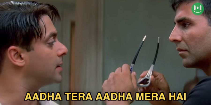 aadha tera aadha mera hai mujse shadi karogi meme template