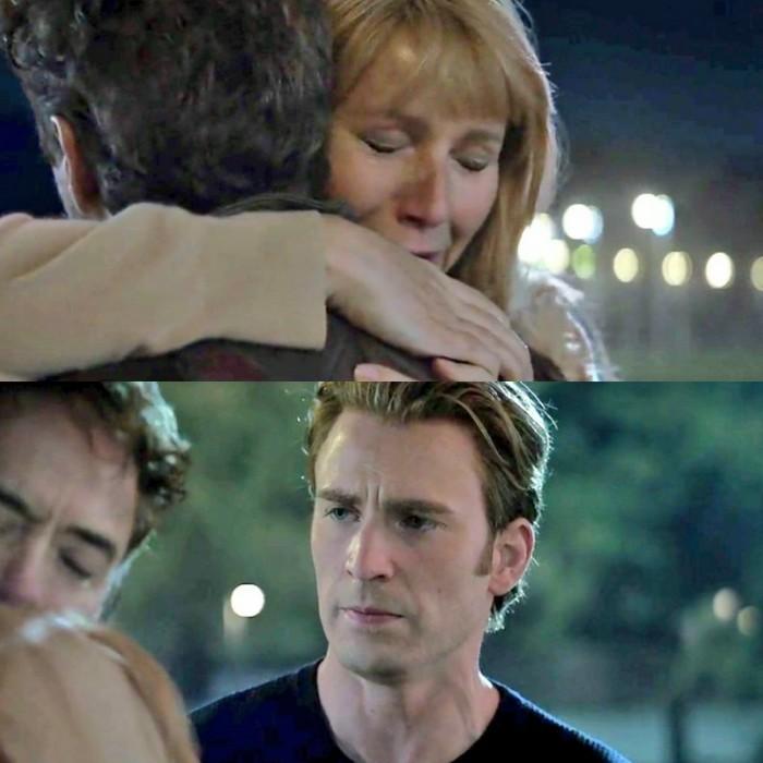 captain america seeing Tony hugging meme template
