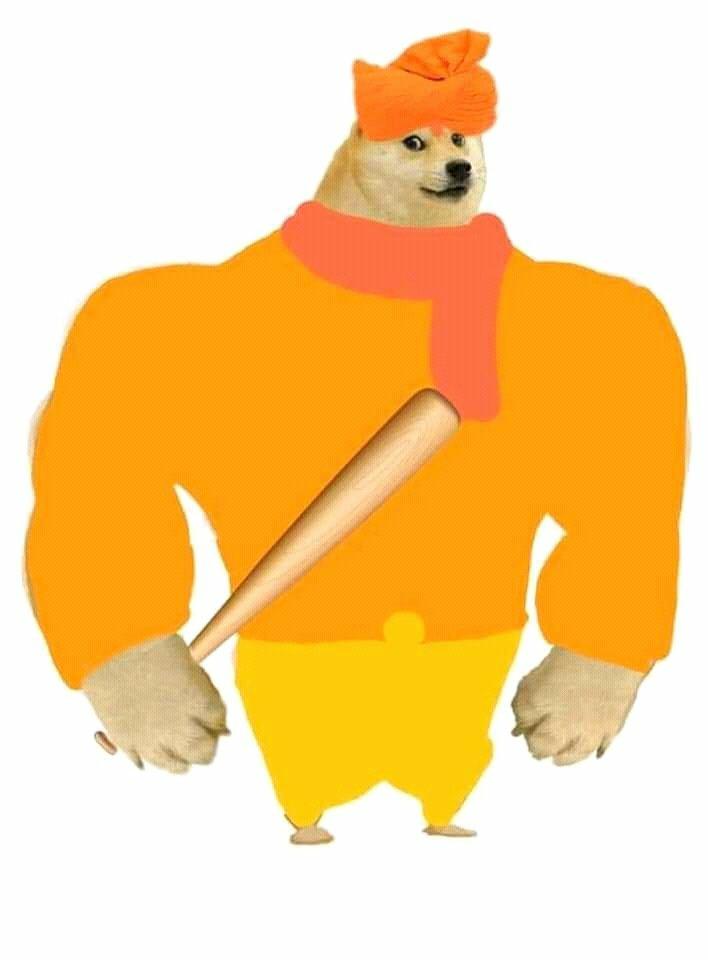 doge with bat meme template