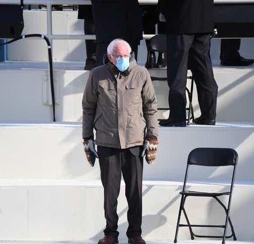 old man standing near chair Bernie Sanders meme template
