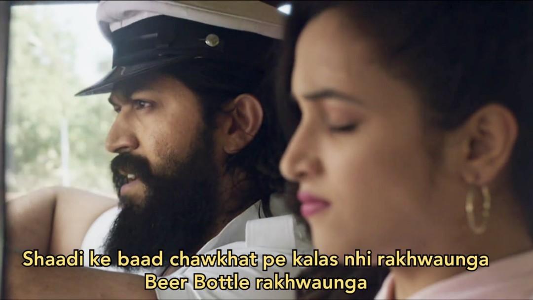 shadi ke bad chaukhat pe beer rakhwaunga kgf meme template