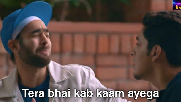 tera bhai kab kam aega collage romance meme template