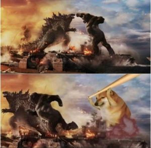 Godzilla Kong vs cheems bonk meme template