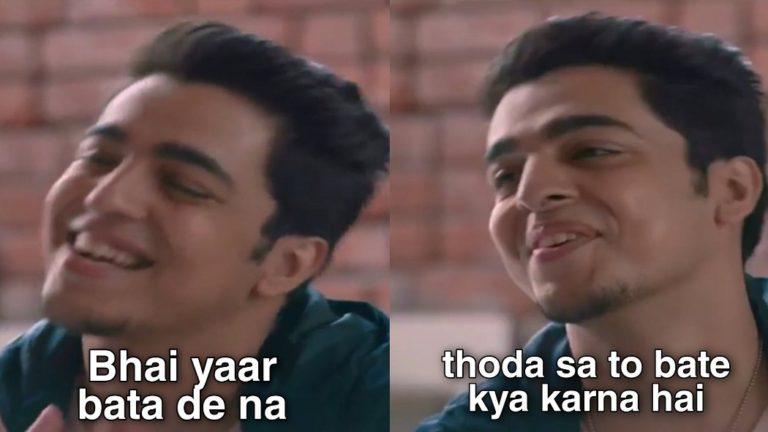 bhai yar bata dena thoda sa college romance meme template