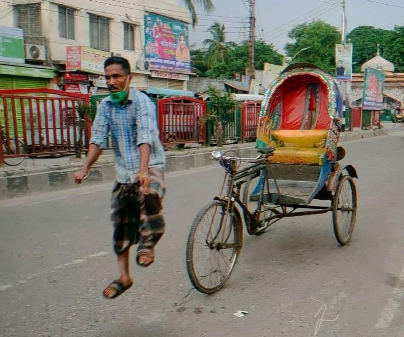 guy pulling his rickshaw meme template