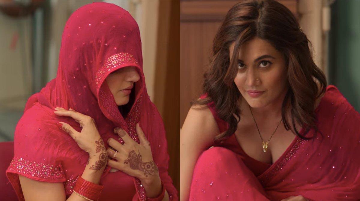 Tapsee pannu in saree hot vs sanskari haseen dilruba meme template
