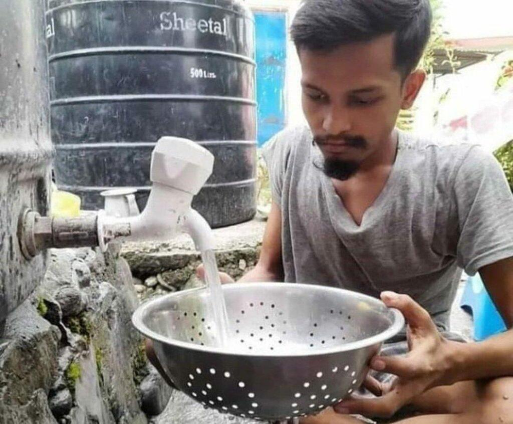 guy filling water in utensil meme template