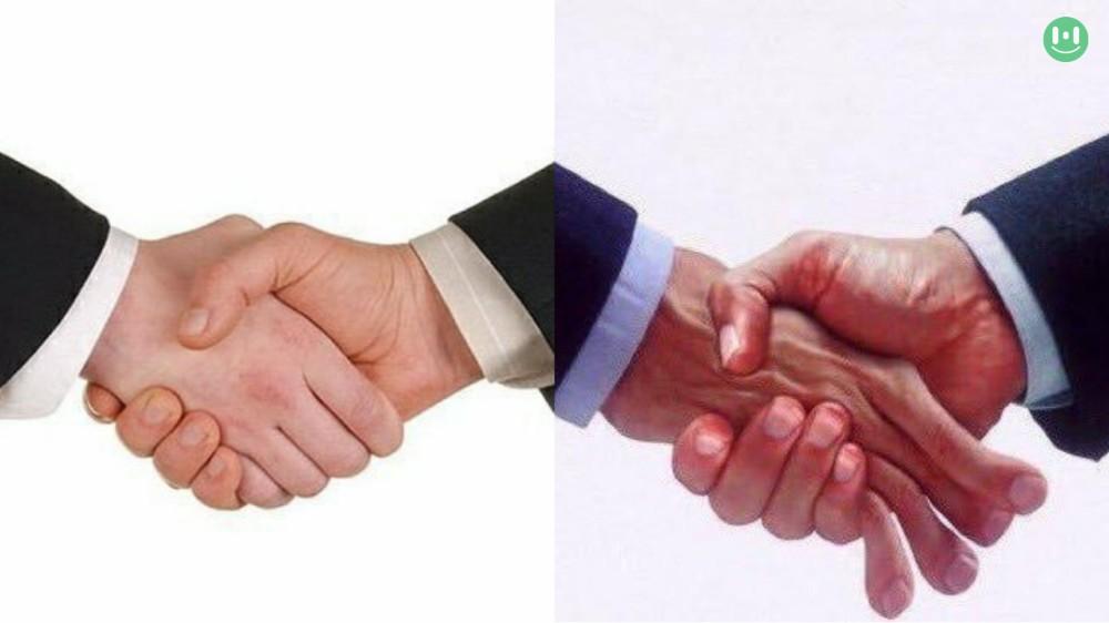 handshake vs crushing hand shake meme template