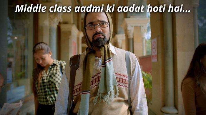middle class admi ki adat hoti hai dhindora meme template